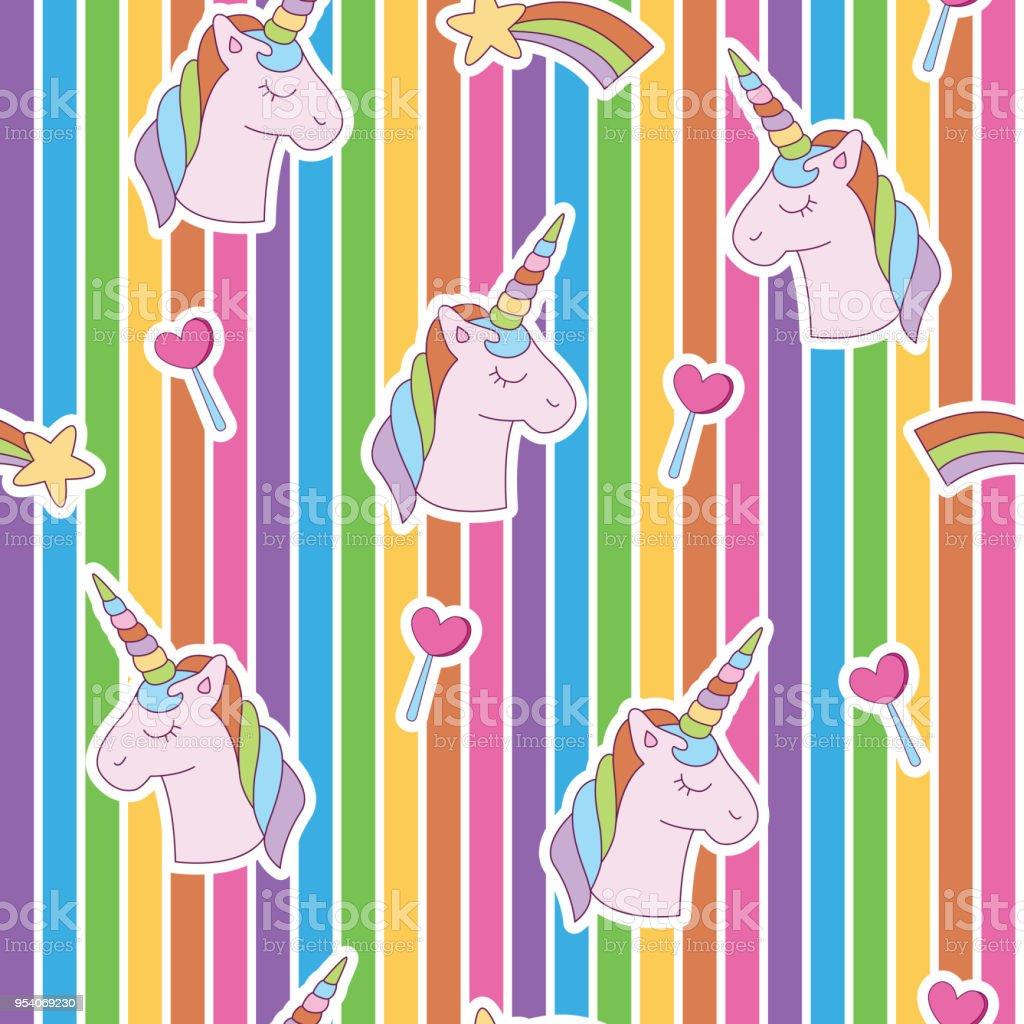 lebendige kantigen einhorn kopf regenbogen zufallige herz lizenzfreies lebendige kantigen einhorn kopf regenbogen zufallige