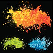 Vibrant paint splashes on a black background with motifs and flowers.