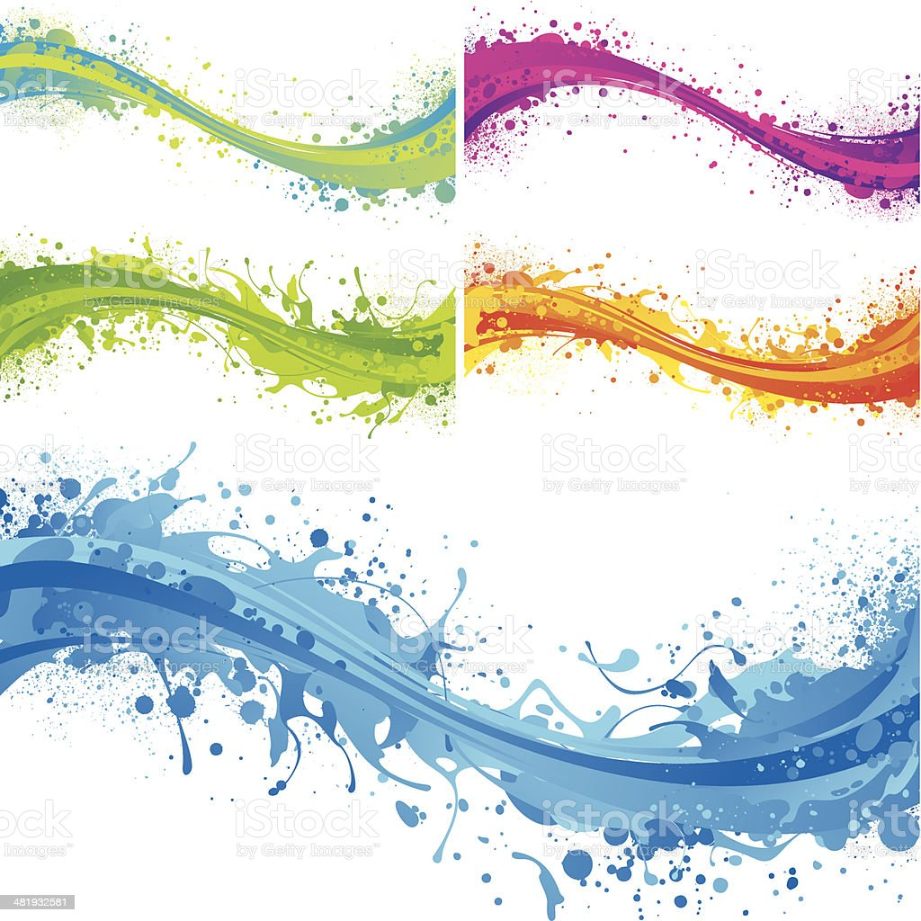 Vibrant flow splashes vector art illustration