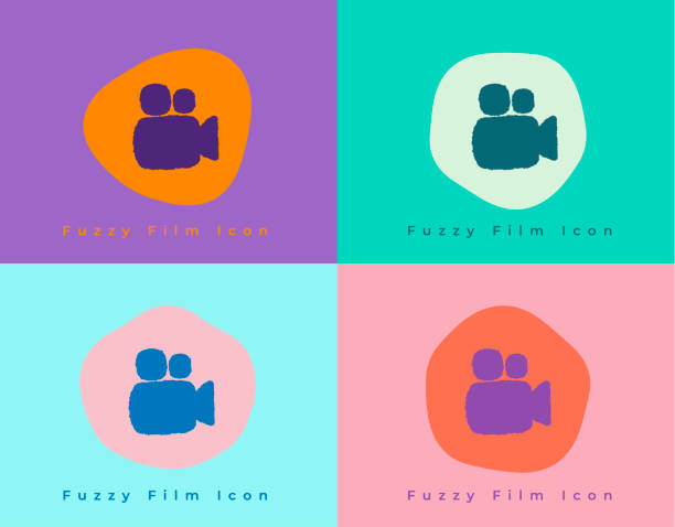 Vibrant Fuzzy Movie Film Reel Camera Icon on Unique Shapes and Colorful Backgrounds vector art illustration