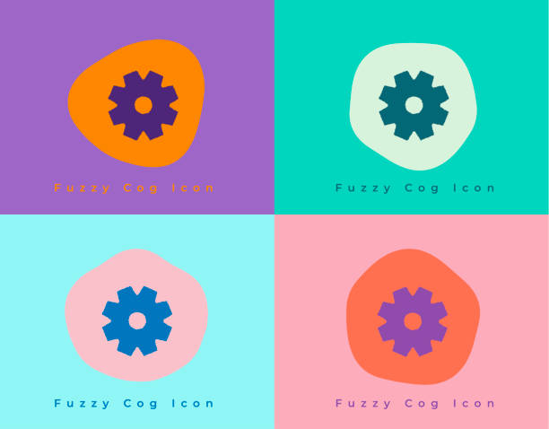 Vibrant Fuzzy Options Cog Icon on Unique Shapes and Colorful Backgrounds vector art illustration