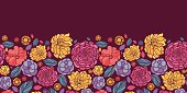 Horizontal Vector seamless pattern border with hand drawn vibrant ornate flowers and leaves on dark purple background.