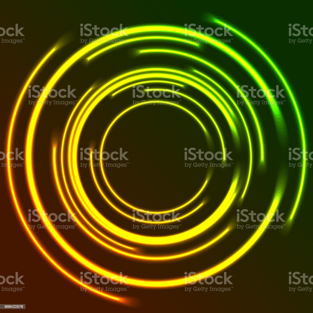 Vibrant glowing neon circles abstract background vector art illustration