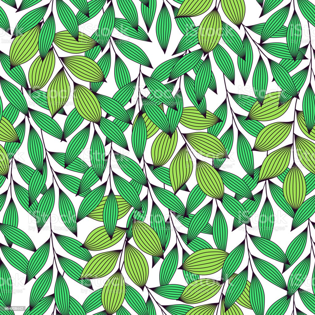 Vibrant green fresh leaves with veins seamless pattern, vector - Royalty-free Autumn stock vector