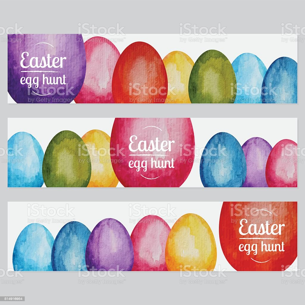 Vibrant Hand Painted Watercolor Easter Egg Hunt Banners vector art illustration