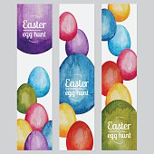Three different Easter egg hunt watercolor banners with hand painted Easter eggs. Nicely layered.