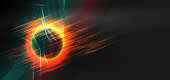 Vibrant neon circle with glow and geometric waveform glitch