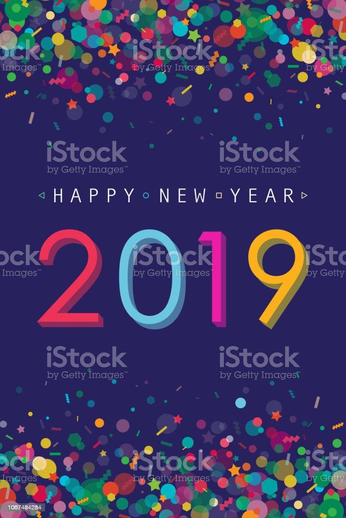 Vibrant New Year 2019 Greeting Card - Royalty-free 2019 arte vetorial