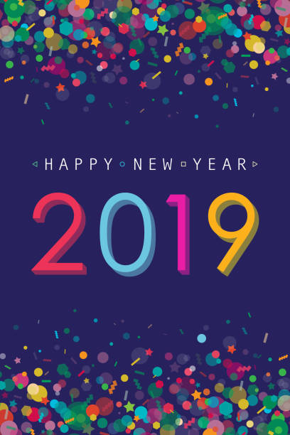 Vibrant New Year 2019 Greeting Card Vibrant and modern greeting card for New Year 2019 with confetti and 2019 number placed on dark purple background. celebration stock illustrations