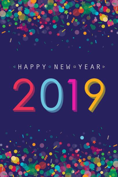 ilustraciones, imágenes clip art, dibujos animados e iconos de stock de vibrante tarjeta de felicitación de año nuevo 2019 - celebration background