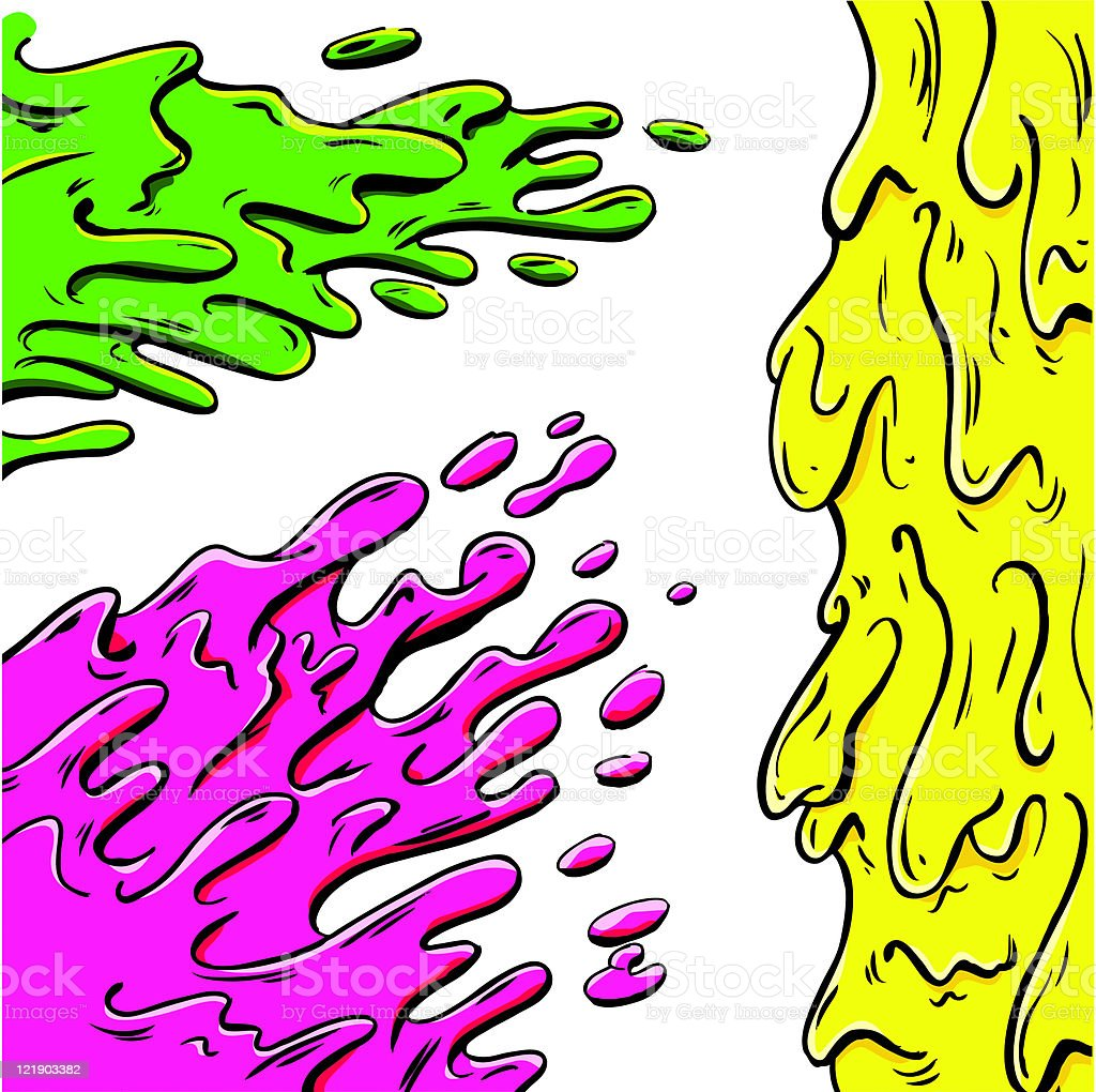Vibrant paint splashes cartoon vector art illustration