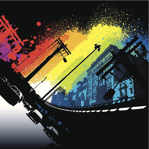 vibrant rainbow city - graffiti backgrounds stock illustrations, clip art, cartoons, & icons