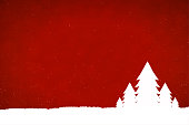 A horizontal vector illustration in red colour with five shining white tall trees overlapping over a snowing backdrop at the base. Apt for use as Xmas wallpaper, poster, gift wrapping paper sheets, posters and Greeting Cards.