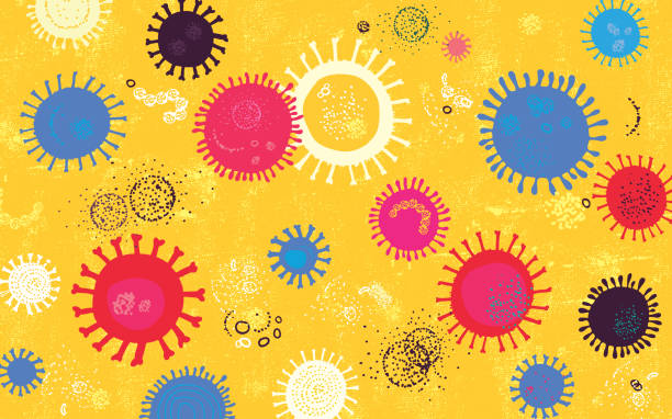 Vibrant Virus Background Vibrant vector image made from hand drawn elements depicting virus concept. microbiology stock illustrations