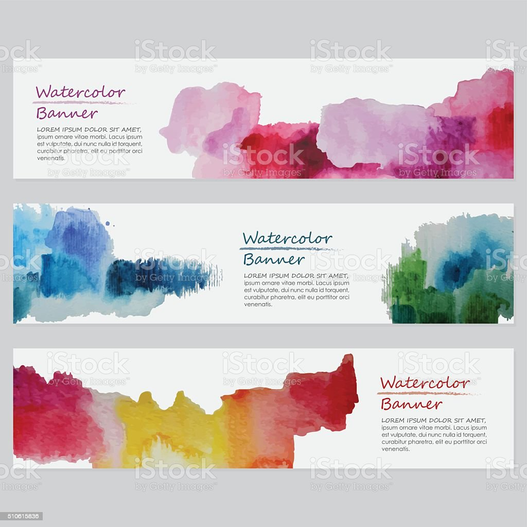 Vibrant Watercolor Banners Templates Stock Vector Art & More Images ...