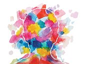 Abstract vector watercolor drawing of a child head. Background and head elements are separated on different layers.