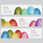 Three different watercolor banners with hand painted Easter eggs. Nicely layered.