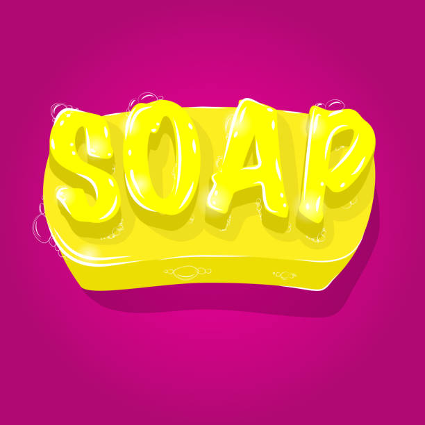 vibrant yellow soap with 3D lettering and foam on pink background. Self care, hyegene concept. Vector illustration vector art illustration