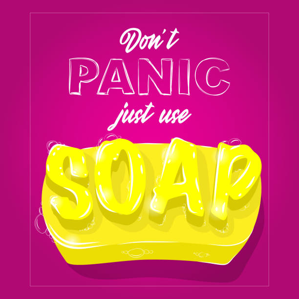 vibrant yellow soap with 3D lettering and foam on pink background. Don't panic just use soap. Self care, hyegene concept. Vector illustration vector art illustration