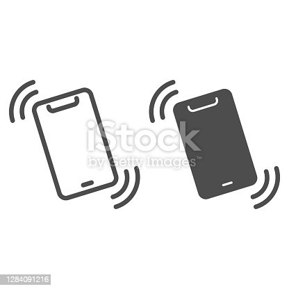 istock Vibration alert in smartphone line and solid icon, smartphone concept, mobile call sign on white background, ringing phone icon in outline style for mobile concept and web design. Vector graphics. 1284091216