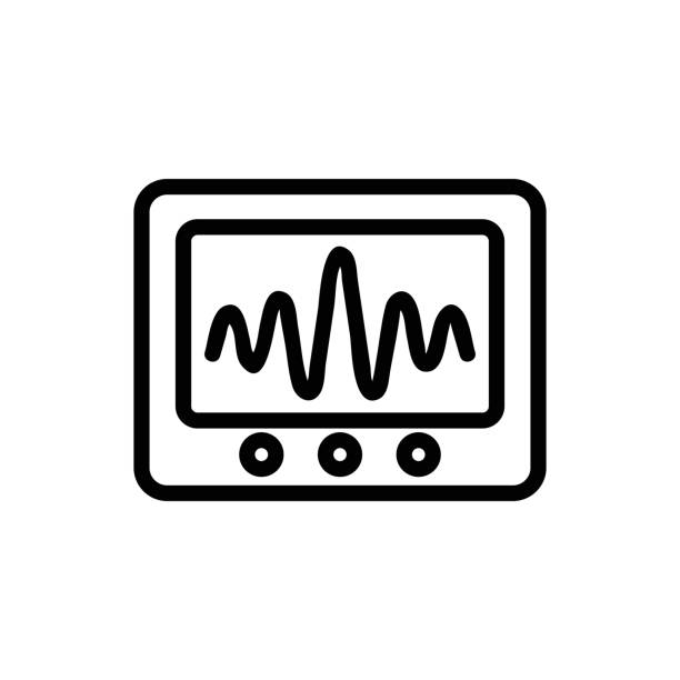 Vibration sound icon vector. Isolated contour symbol illustration Vibration sound icon vector. Thin line sign. Isolated contour symbol illustration sine wave stock illustrations
