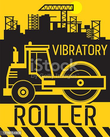 Vibratory roller work on construction site, abstract flat vector illustration
