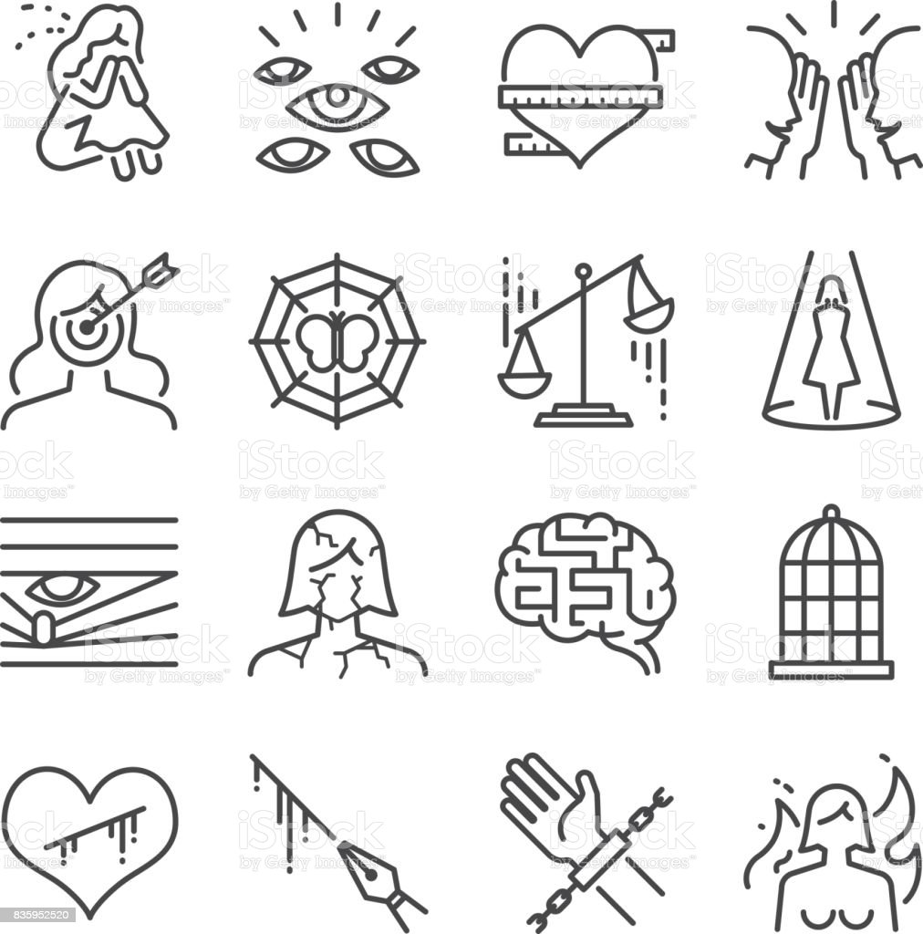 Victim blaming and harassment line icon set. Included the icons as woman, victim, suffer, sad, target, imprison and more. vector art illustration