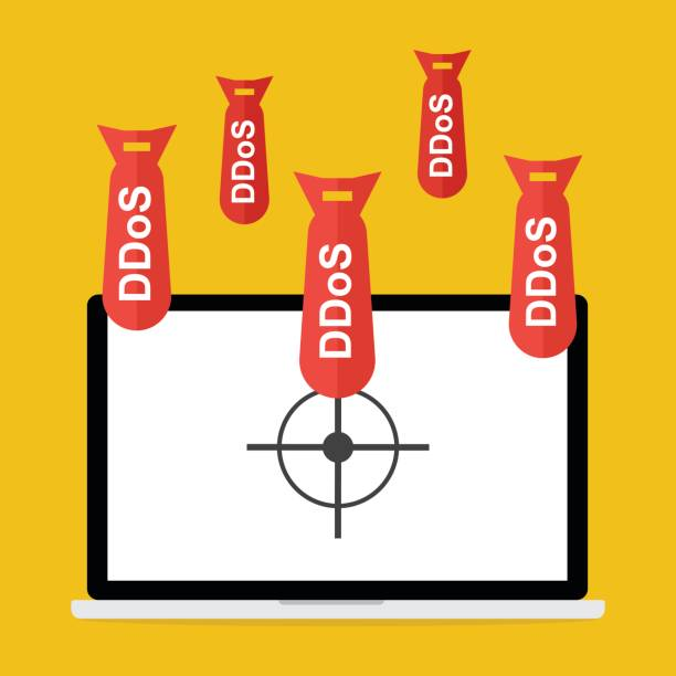 Victim computer laptop with target lock has Distributed Denial of Service ddos bomb attack concept design. Vector illustration cyber crime in computer security concept. vector art illustration