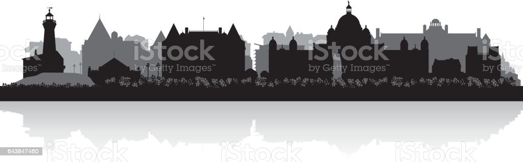 Victoria British Columbia Canada city skyline silhouette vector art illustration