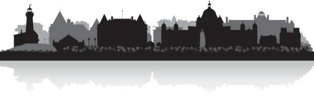 Victoria British Columbia Canada city skyline silhouette Victoria British Columbia Canada city skyline vector silhouette illustration british columbia stock illustrations