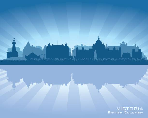 Victoria British Columbia Canada city skyline silhouette vector art illustration