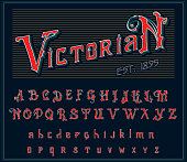Victorian alphabet in ancient style. Antique old Font for Whiskey label. Vintage typeface in red colors, editable and layered. Hand drawn Vector modern letters