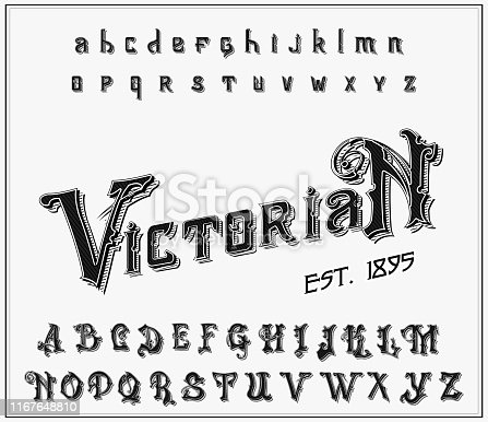 Victorian alphabet in ancient style. Antique old Font for Whiskey label. Vintage typeface in black colors, editable and layered. Hand drawn Vector modern letters