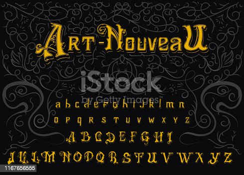 Victorian alphabet in Vintage style. Antique old Font. Typeface in gold colors, editable and layered. Hand drawn Vector modern letters