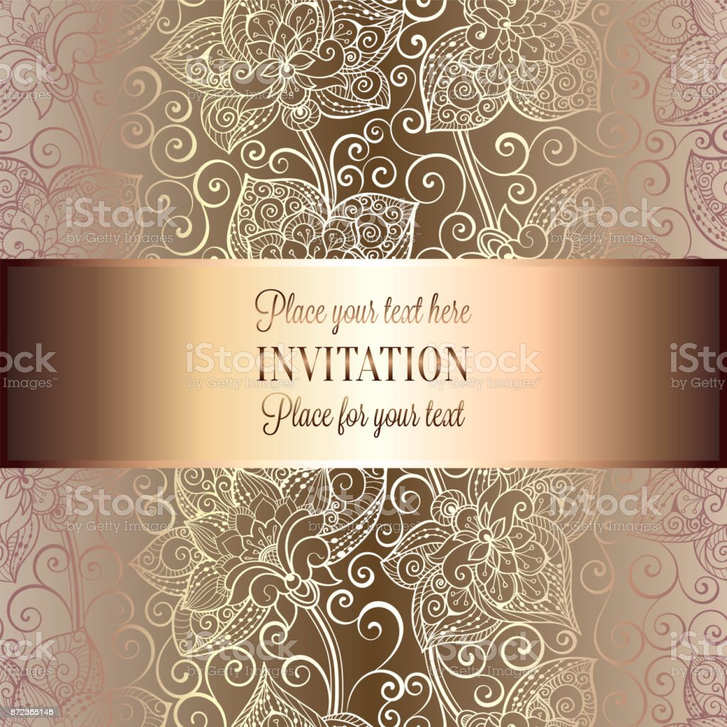 Victorian Background With Antique Luxury Beige And Gold Vintage