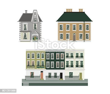 Buildings isolated detailed set of three vintage european historical houses with english classic terrace.