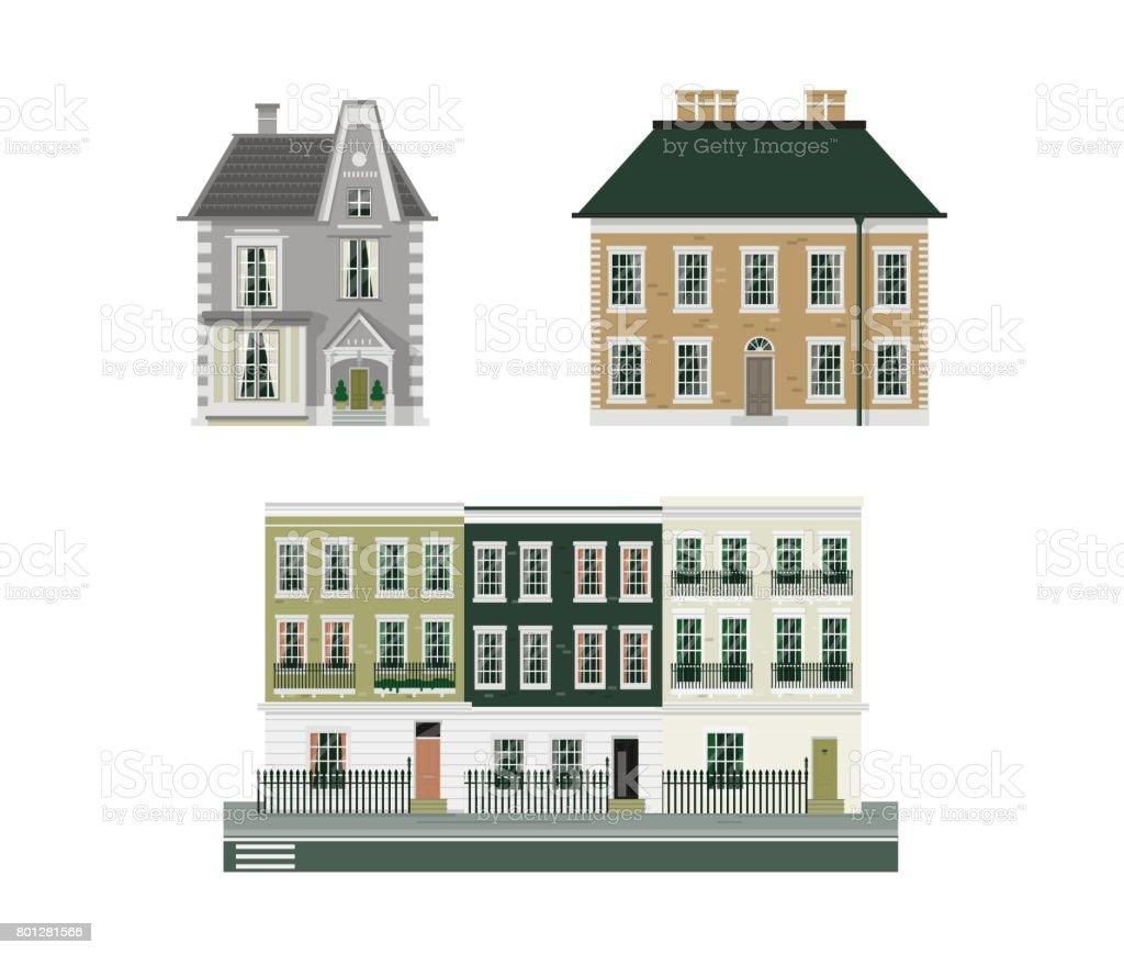 Viktorianische Gebäude 3er set – Vektorgrafik