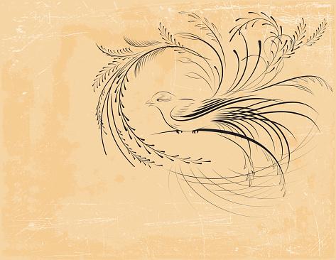 Victorian Calligraphy Bird
