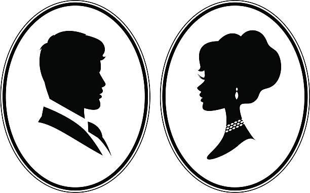 viktorianische kameen - hochzeitsanstecker stock-grafiken, -clipart, -cartoons und -symbole