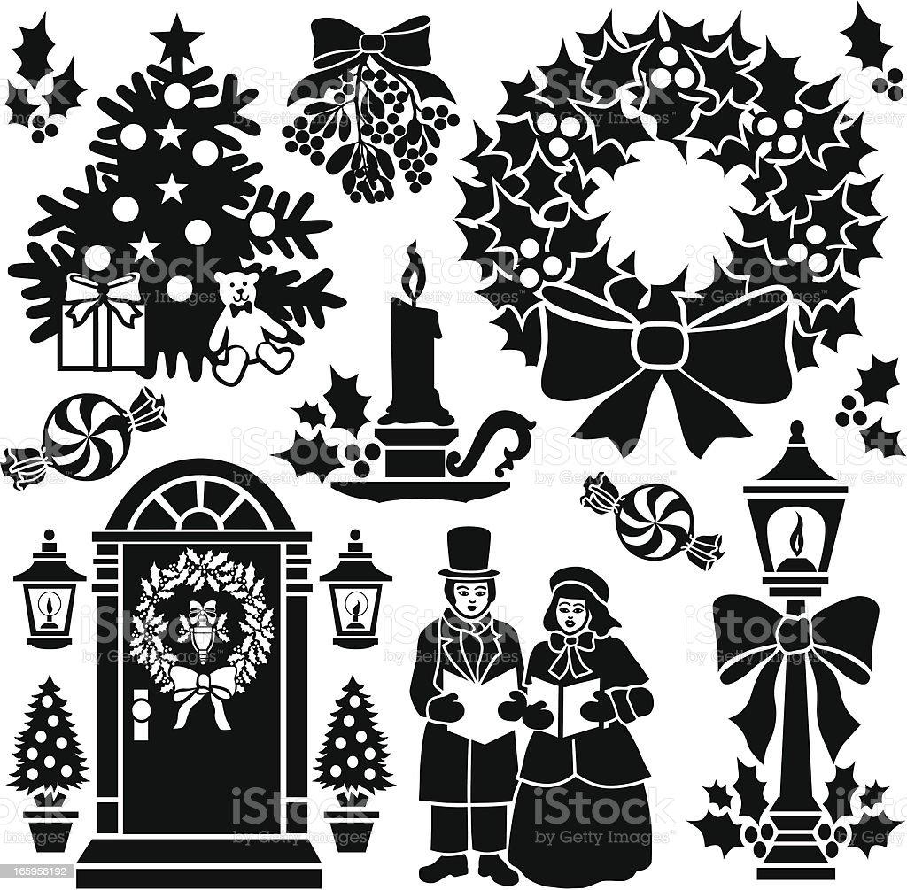 Victorian Christmas design elements vector art illustration