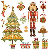 Stylized Victorian Christmas Set includes - tree, nutcracker, ornaments, gifts, plum pudding, stocking, mistletoe and candy.