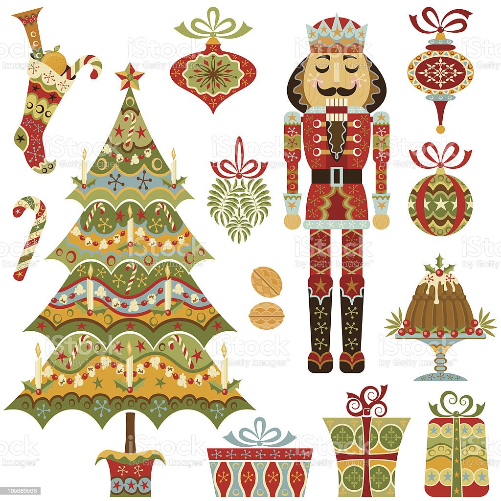 Victorian Christmas Set vector art illustration