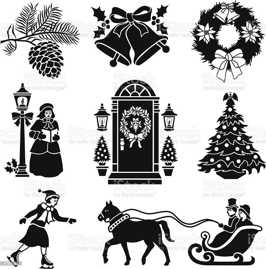 Victorian Christmas royalty-free stock vector art