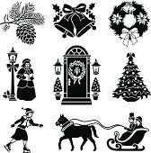 Vector icons with a Victorian Christamas theme.