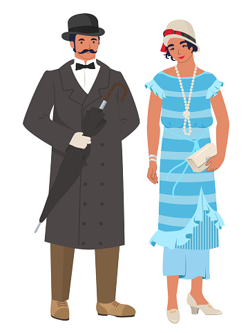 Victorian couple lady and gentleman, flat vector illustration. English man and woman wearing elegant vintage clothes.