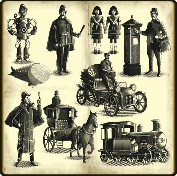 Steampunk fashion stock illustrations
