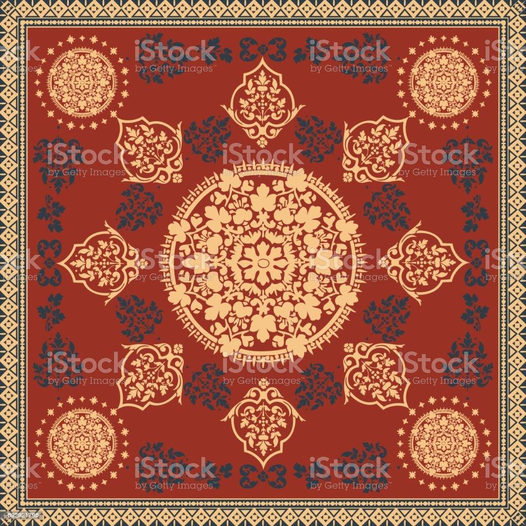 Victorian Floral Paisley Medallion Ornamental Rug Vector Ethnic ...