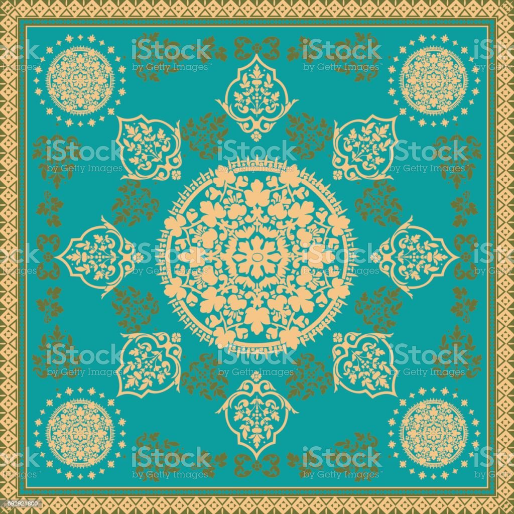 Victorian floral paisley medallion ornamental rug vector. Ethnic mandala towel frame. Vintage flower tile. Textile, greeting business card, coloring book, phone case print vector art illustration