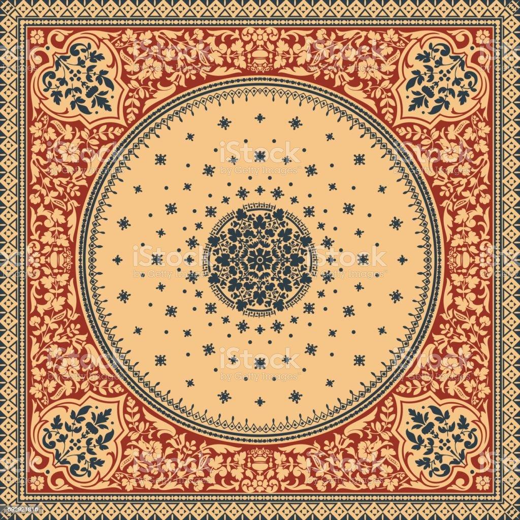Ilustración de Vector De Alfombra Ornamental Victoriano Floral ...