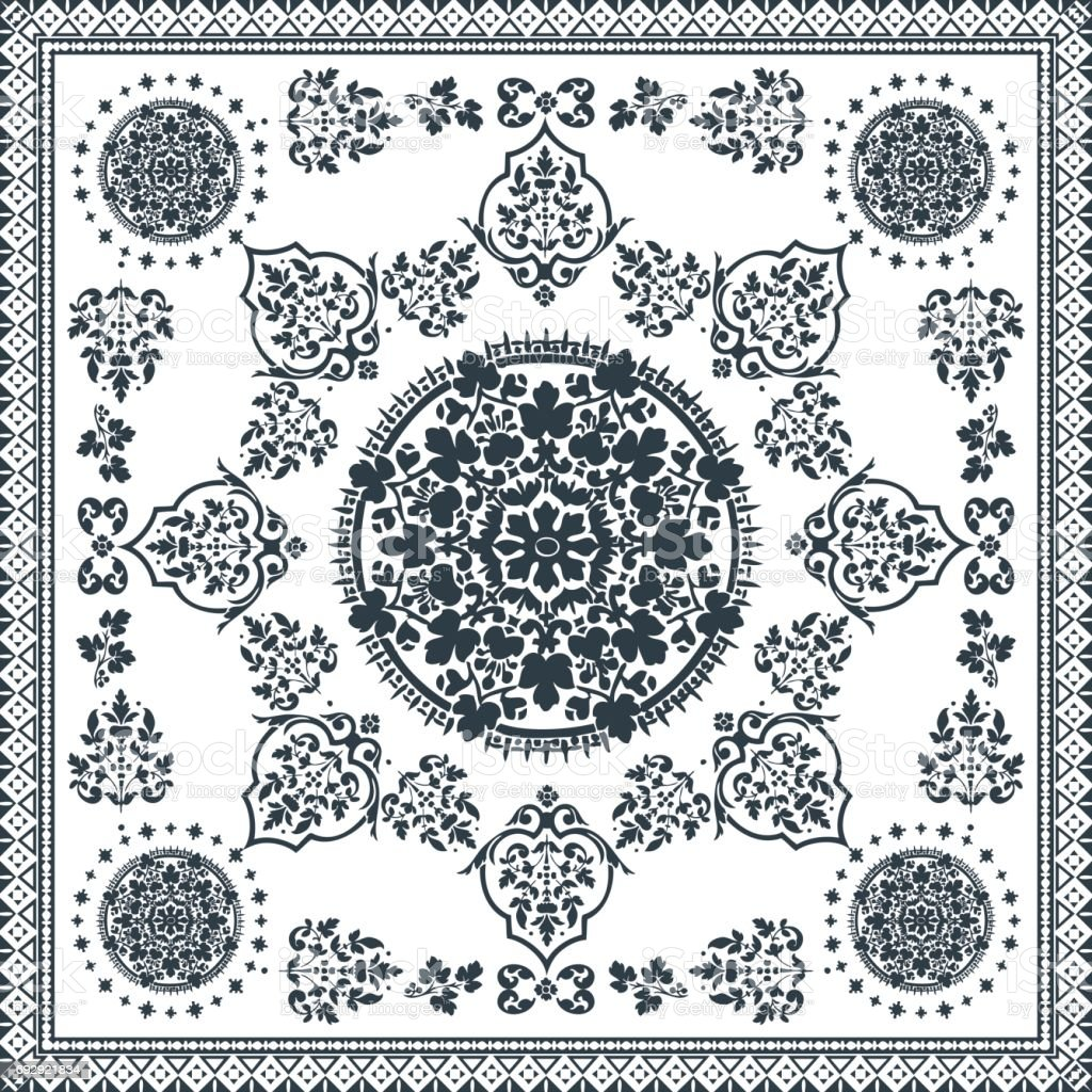 Victorian floral paisley medallion ornamental rug vector. Ethnic mandala towel frame. Vintage flower tile. Black and white. Textile, greeting business card, coloring book, phone case print vector art illustration